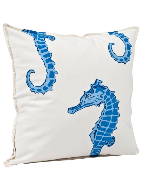 ecoaccents Blue Seahorse Cotton Canvas Pillow