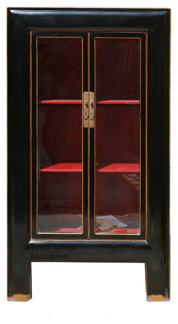 Black Piano Painted Tall Storage Glass Display Cabinet asian-bookcases