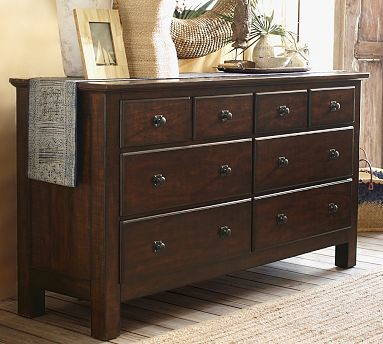 mason wood extra wide dresser rustic mahogany stain traditional by pottery barn