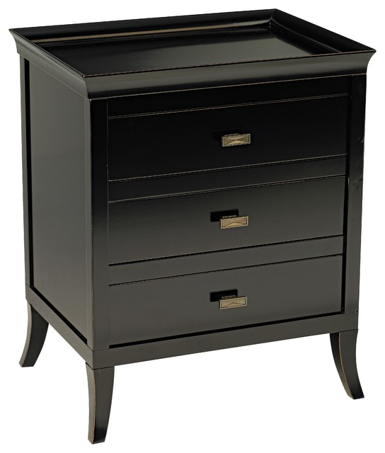 Trio Moderne Three Drawer Black End Or Bedside Table