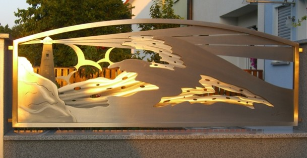 """Stainless Steel Gate Design. """"Sunset Glow"""" eclectic-landscape"""