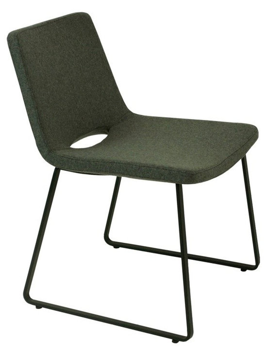 """Nevada Flat Dining Chair by sohoConcept - Nevada Flat is an elegant dining chair with a comfortable upholstered seat and backrest on flat steel legs which are plastic tipped with plastic caps embedded inside the steel base. The flat steel base is available with chrome finish and black powder coating. The seat has a steel structure with """"S"""" shape springs for extra flexibility and strength. This steel frame molded by injecting polyurethane foam. Nevada seat is upholstered with a removable zipper enclosed leather or wool fabric slip cover. The chair is suitable for both residential and commercial use."""