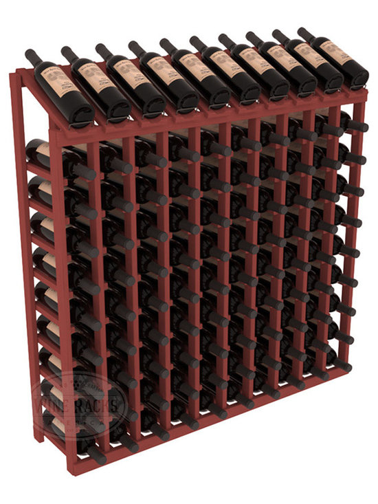 Wine Racks America - 100 Bottle Display Top Wine Rack, Cherry Stain - Make your top 10 vintages focal points of your cellar or store. Our wine cellar kits are constructed to industry-leading standards. You'll be satisfied. We guarantee it. Display top wine racks offer ample storage below a presentation row. Great as a stand alone unit or paired with other modular racks from our product lineup.