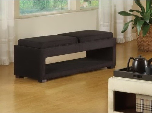 Cancun Microfiber Double Tray Storage Bench in Black modern-indoor-benches