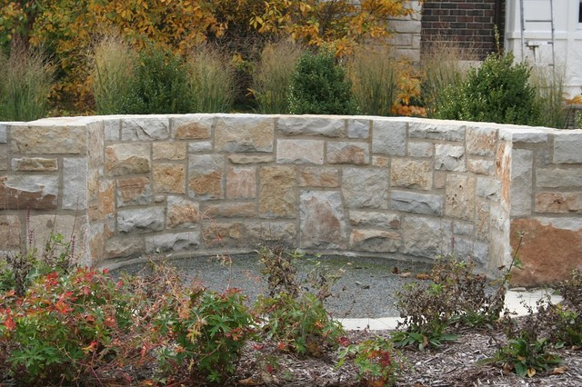 Natural Stone Veneer Retaining Wall traditional-landscape