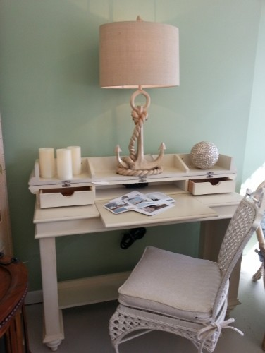 Coastal Lightly Distressed Spinet Style Writing Desk