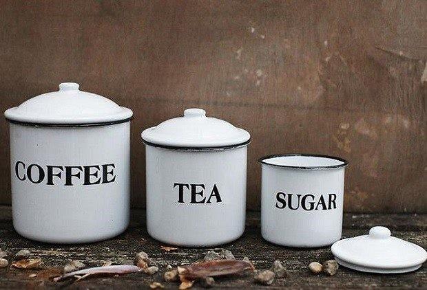 enamel metal coffee tea sugar canisters set of 3