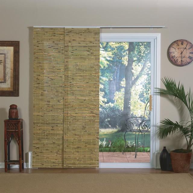 natural bamboo panel track sliding window shade. Black Bedroom Furniture Sets. Home Design Ideas