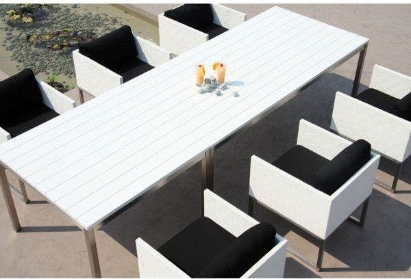 And White Outdoor Dining Table And Wicker Dining Chairs Outdoor Tables
