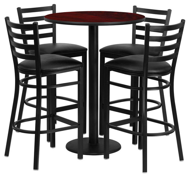 30'' Round Mahogany Table Set With 4 Ladder Back Bar