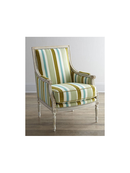 """Massoud - Massoud """"Jenilynn"""" Striped Chair - A classic carved frame gets a modern update with bold stripes in varied widths. The results—a chair that delivers tailored good looks along with comfortable seating. Handcrafted of birch with polyester/cotton upholstery. Frame accented with nailh..."""