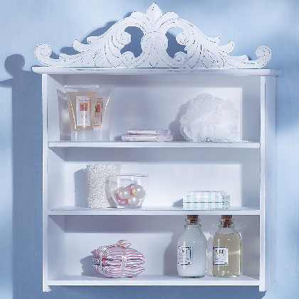 Distressed White Wood Shelf traditional-display-and-wall-shelves