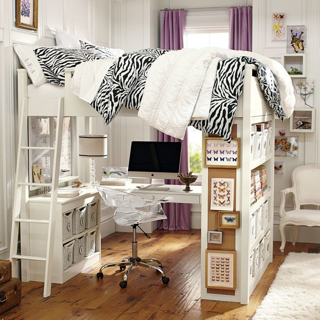 Teen Girl Loft Bed with Desk 640 x 640
