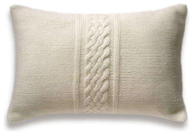 Decorative Cable Knit Pillow Cover In Ivory 12x18 inch Lumbar Cushion