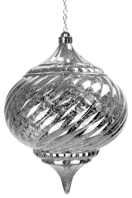 Solar silver large onion hanging ornament traditional for Large outdoor christmas ornaments
