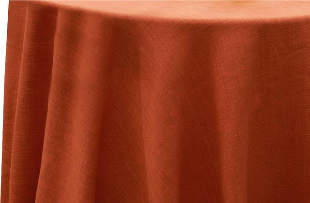 """Hemstitch Tablecloth, Burnt Orange, Round, 90"""" traditional-tablecloths"""