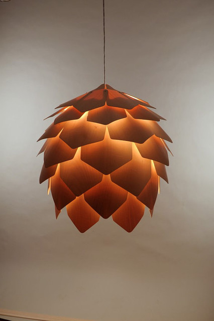 Crimean Pinecone Lamp, Maple Wood, Size 8 by Eekra contemporary-pendant-lighting