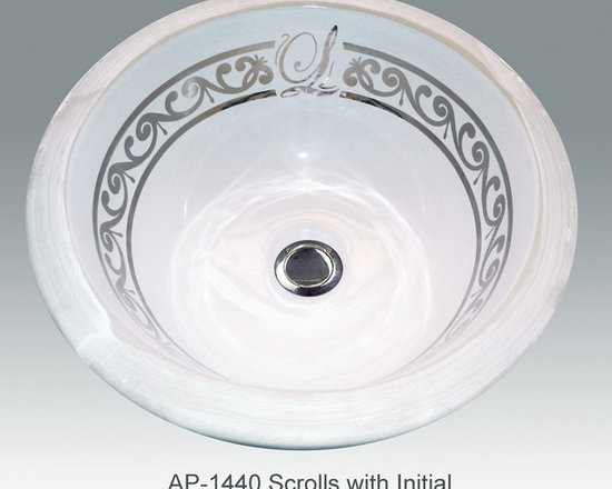 "Hand Painted Gold & Patinum Undermounts by Atlantis Porcelain Art - ""SCROLLS WITH INITIAL"" Shown on AP-1440 white Rondo Medium undermount 12""diameter.Available in bright and burnished gold or bright and burnished platinum in any of our white fixtures."