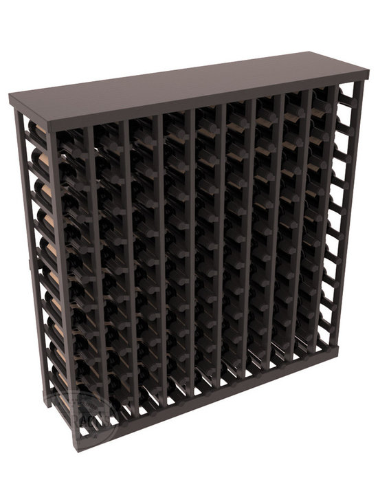 Wine Racks America® - Commercial Wine Rack RetailEDGE™ Standard Base with Solid Top, Black Stain + Sat - The Standard Base with the solid top option holds up to 110 bottles. These racks are made to secure and safely store each bottle while providing adequate breathing room. With this solid Ponderosa pine top option, 13 beautiful stain & finish combination choices, these racks will be sure to shine in your wine retail setting. The solid top increases storage space for holding more bottles, cases, or sale advertisements. Additional tops are also available and can be interchanged with ease. Increase your bottom line today with RetailEDGE Series ™.