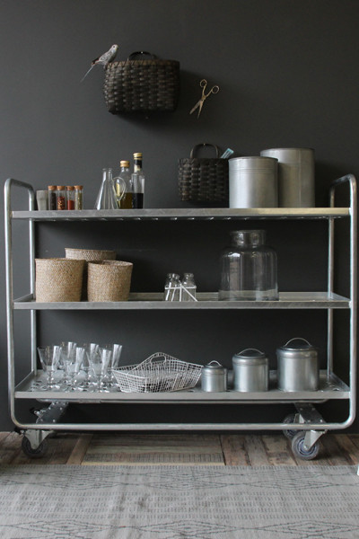 Galvanized Steel Storage Trolley modern-bar-carts