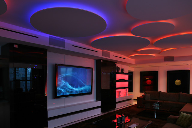 Miami penthouse mancave gameroom led lighting for Led lighting ideas for living room