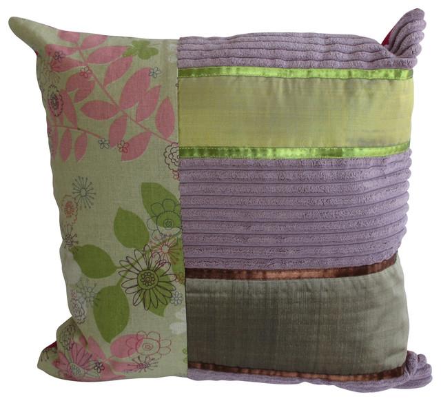 Purple Square Striped Corduroy Pillow eclectic-decorative-pillows
