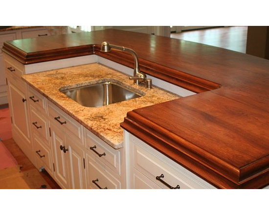 Cherry Wood Stain Matched Kitchen Counter with Sink. Designed by Kountry Kraft.. - http://www.glumber.com/