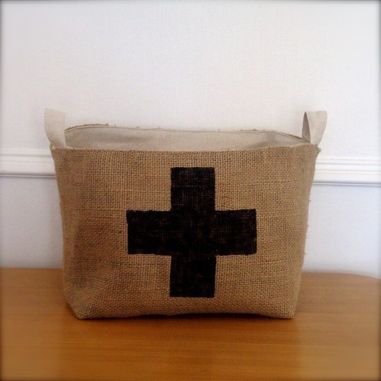 XLarge Coffee Sack Basket Black Swiss Cross by BrinandNohl eclectic hampers