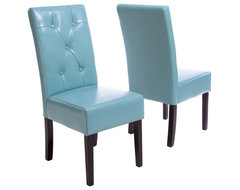Alexander Teal Blue Leather Dining Chair (Set of 2) contemporary-dining-chairs