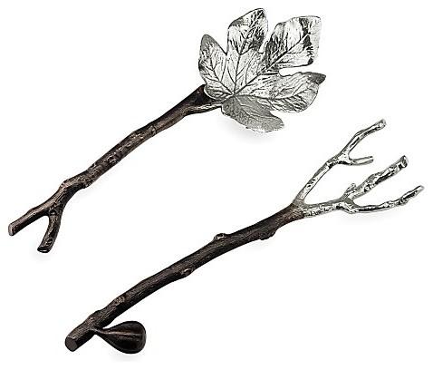 Michael Aram 'Fig Leaf' Serving Set eclectic-serving-utensils