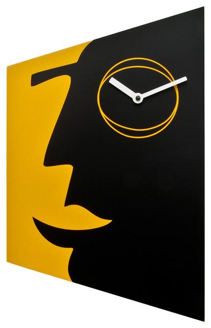 Face 1955 Black/Yellow Wall Clock contemporary-wall-clocks