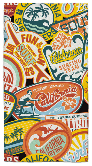 California Vintage Surf Stickers Hand Towel beach-style-towels