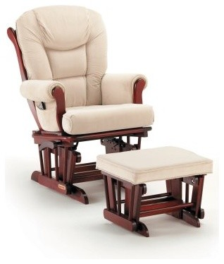 Shermag Glider and Ottoman - Cherry / Beige modern-rocking-chairs