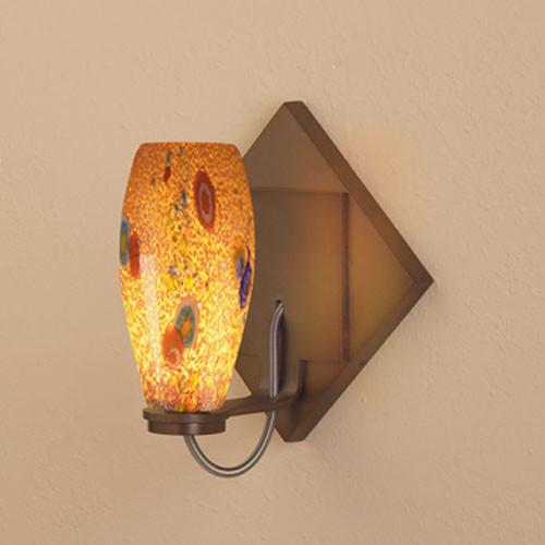Ciro Bronze One-Light Mini Diamond Wall Sconce with Tan Mosaic Glass modern-wall-lighting