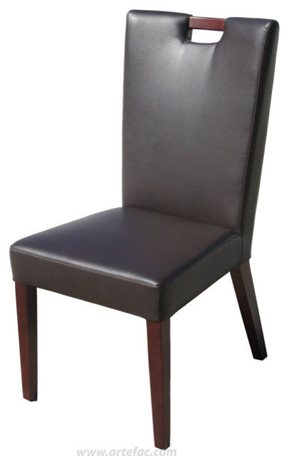 2 handle back leather dining chair in brown brown for Modern brown leather dining chairs