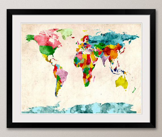 Watercolor Map of the World Map Art Print by Art Pause contemporary artwork