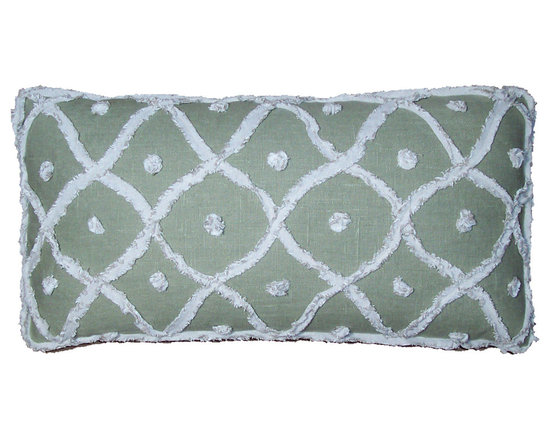 Designer Lumbar Pillows in Bamboo Green - High-end Custom and Ready made pillows available on-line. Limited Edition Decorative Pillow Covers Appliqued with Frayed and Fringed Strips of Linen/Cotton Fabric.  The Hand Made Chenille Forms a Wavy Lattice Motif of a Natural Oatmeal Color Against a Ground of Bamboo Green. See Companion Pillows.   Couture Custom Workroom Services Available. Artisanaworks