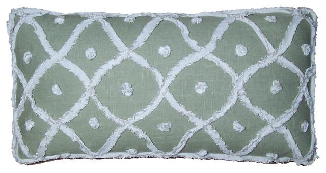 Designer Lumbar Pillows in Bamboo Green eclectic-decorative-pillows