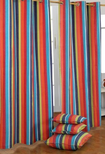 Multi Stripes Ready Made Curtain - Modern - Curtains - other metro ...
