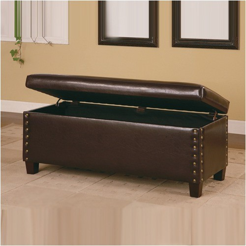 broadbent leather storage bench modern accent and