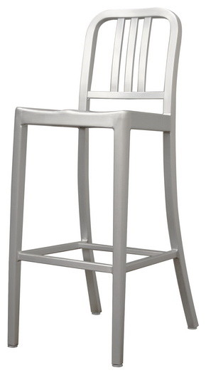 Baxton Studio Modern Cafe Bar Stool in Brushed Aluminum transitional-bar-stools-and-counter-stools