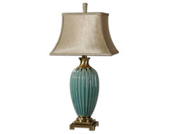 Angelica Blue Table Lamp transitional-table-lamps