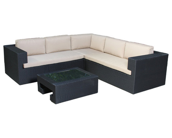 Great Deal Furniture - Oasis 4-Piece Outdoor Wicker Seating Sofa Set - Create the ultimate lounging environment in your outdoor space with this four piece sofa set. Included in this sophisticated furniture set is a sectional sofa that can be configured to your design needs, and a chic glass topped table. All of the pieces are crafted from durable, all weather black wicker, with a sturdy aluminum frame.