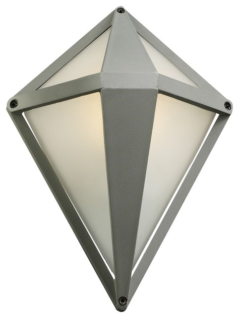 "Contemporary Aeros Diamond 12"" High Silver Outdoor Wall Light contemporary-outdoor-lighting"