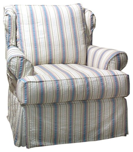 shelby slipcovered chair or swivel glider traditional