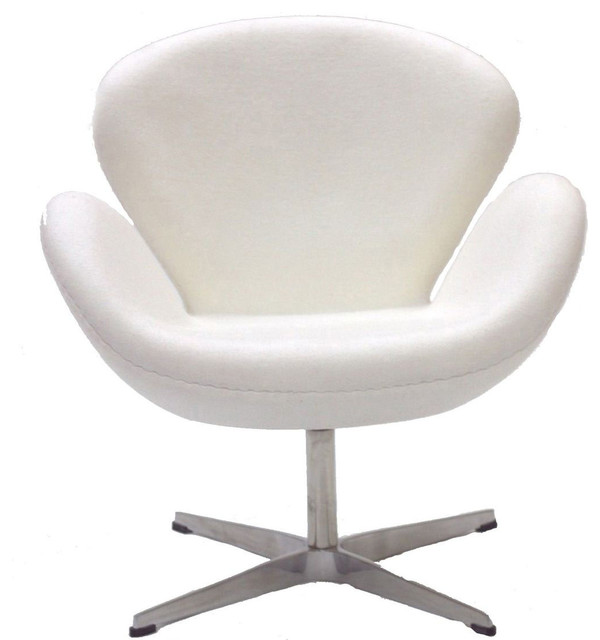 Wing Lounge Chair in White midcentury-living-room-chairs
