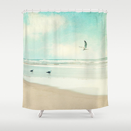 Ocean Shower Curtain By Vintage Chic Images Beach Style Shower Curtains By Etsy