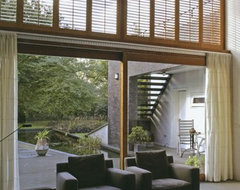 Norman Premium Wood Plantation Shutters from Blinds.com contemporary living room
