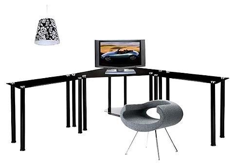 large corner black glass computer desk contemporary desks and