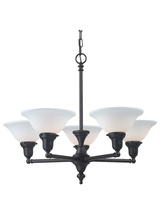 Royce Lighting - Essex Collection 5 Light Chandelier with Oil Rubbed Bronze Finish - Essex Collection 5 Light Chandelier with Oil Rubbed Bronze Finish. Begin with a chandelier that complements your lifestyle, classic school house meets design sophisticate. Trendy yet timeless is the Essex Collection's five light chandelier in a stylish oil rubbed bronze finish paired with white frosted glass shades. Requires 5-medium 120-Watt maximum bulbs. Royce Lighting, Elegance for America's Homes.